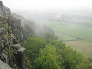 Southern cliffs overlooking King's Knot gardens, Stirling Castle