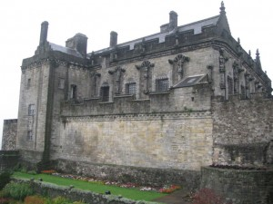 Southern end of curtain wall and tower, with palace behind, Stirling Castle