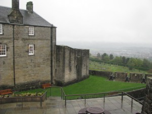 Northern end of curtain wall and tower built above 1390 basement, Stirling Castle